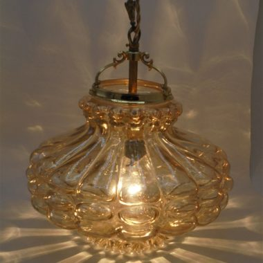 suspension vintage verre or ambre inspiration bubble helena tynell