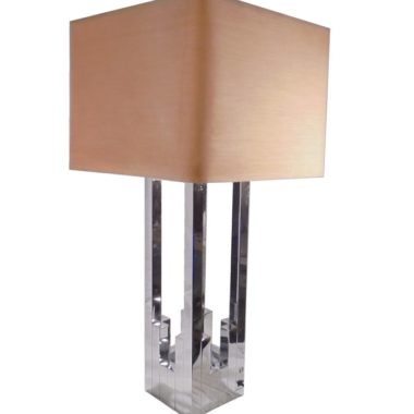 grande lampe de luxe L382JC signee vintage annees 70 chromee italy lumica circa willy rizza