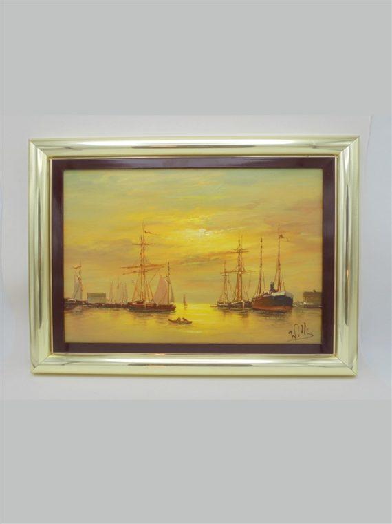 tableau peinture sur toile voiliers coucher de soleil signe willis ou williz