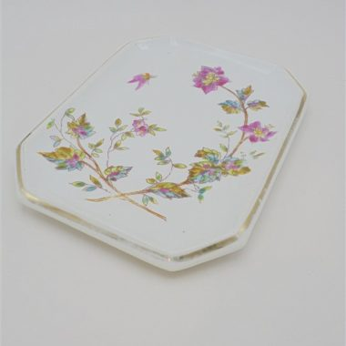 ancien petit plat en ceramique au decor floral colore vide poche