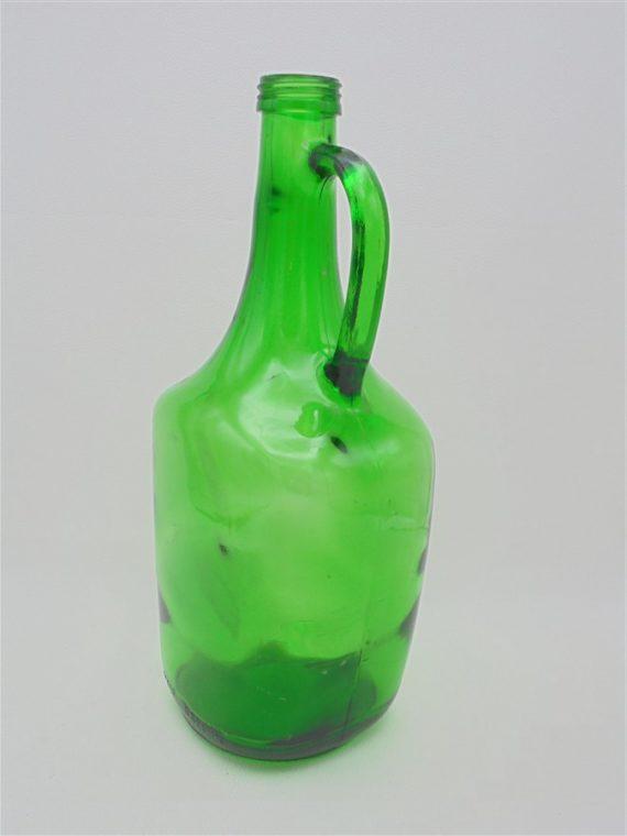 bonbonne carafe bouteille verte en verre avec poignee anse