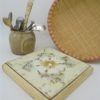 dessous de plat vintage carreau ceramique gres decor floral