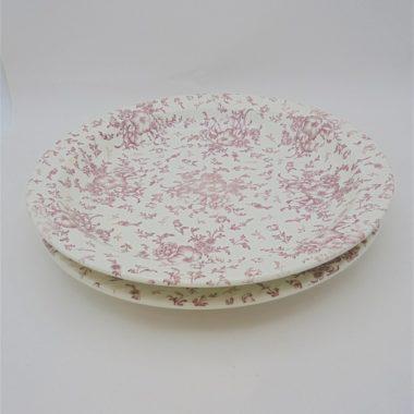 plats de service ronds ceramique decor fleuri