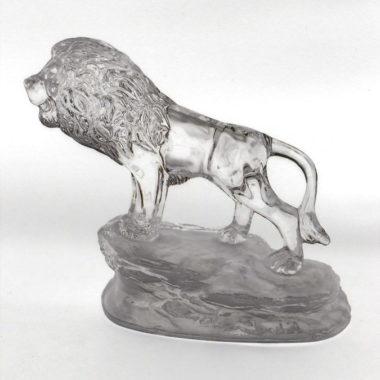 lion en cristal presse papier