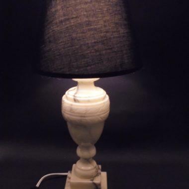 lampe vintage italienne pied en albatre marbre gris et blanc creme