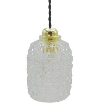 suspension vintage verre transparent