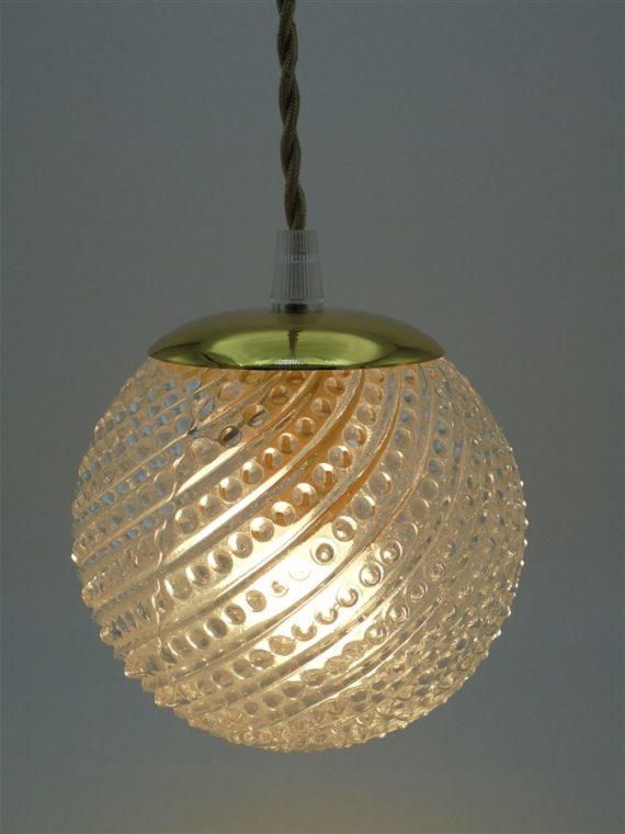 suspension vintage art deco globe verre transparent