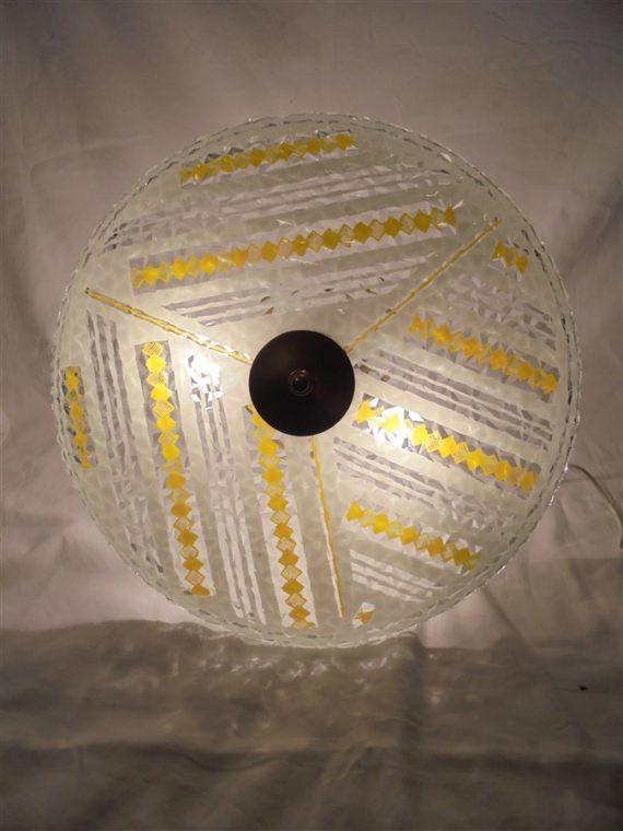 suspension vintage plateau en verre jaune blanc transparent annees 70