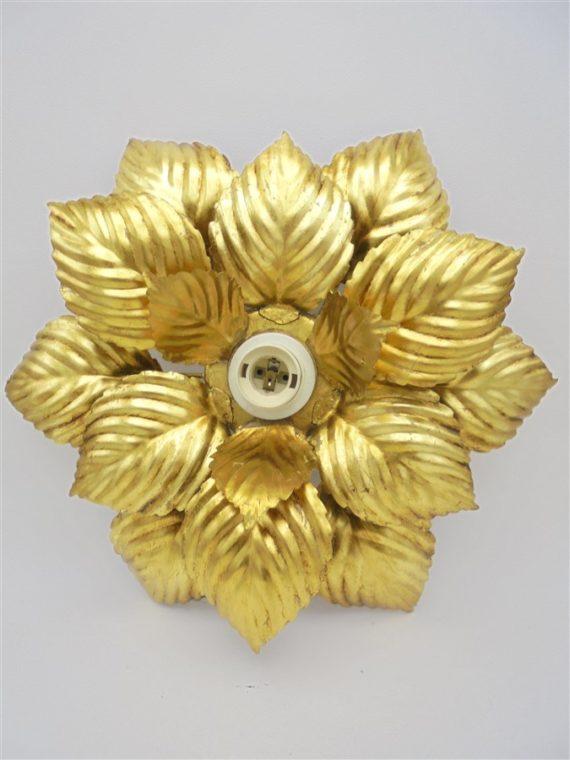 plafonnier ou applique fleur masca vintage annees 70 ilaty metal dore