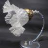 ancienne lampe jolie tulipe verre satine