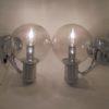 appliques murales vintage globe verre fume et supports chromes