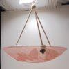 suspension vasque art deco papillons verre rose
