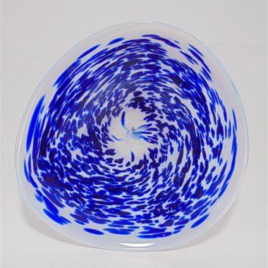 coupelle vide poche en verre transparent et bleu signe
