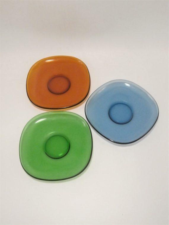trio soucoupes tasses a cafe vintage vereco verre bleu brun vert coupelles vide poches