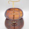 ancien_plat de service a etage ceramique marron badonviller luneville