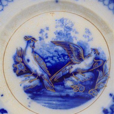 ancienne petite assiette villeroy&boch modele india decor oiseaux bleu et or