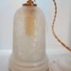 ancienne suspension en verre givre avec un decor floral poli