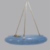 ancienne suspension large en verre mouchete de clichy bleu vasque deco brocante tendance