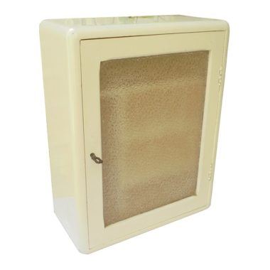 ancienne armoire a pharmacie ou de toilette vitree en bois peint brocante