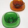 duo de tasses vintage vereco verre ambre brun et vert