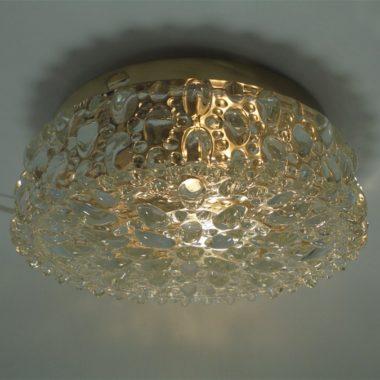 plafonnier vintage luxe verre bulle transparent socle dore limburg ? tynell ?