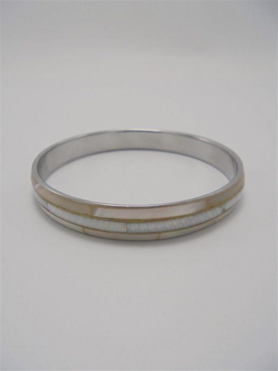 bracelet rond laiton metal couleur argent et nacre
