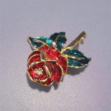 broche fantaisie rose rouge