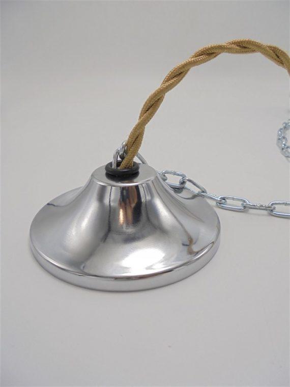 rosace cloche cache fixation suspension lustre cloche metal chrome piece detachee luminaires