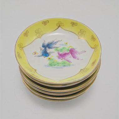 coupelles chinoises decor colore poissons