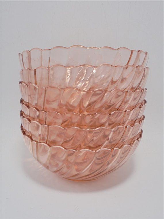 coupelles bols vintage rosaline verre rose