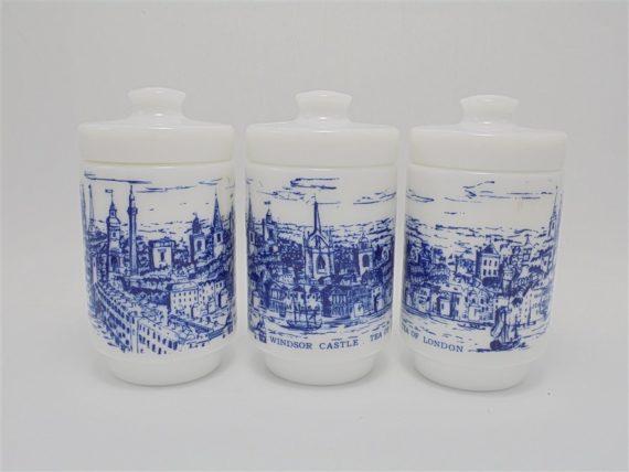 serie de 3 pots a the en verre opale decor bleu