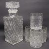 service a whisky vintage en verre motifs losanges en relief carafe 4 verres