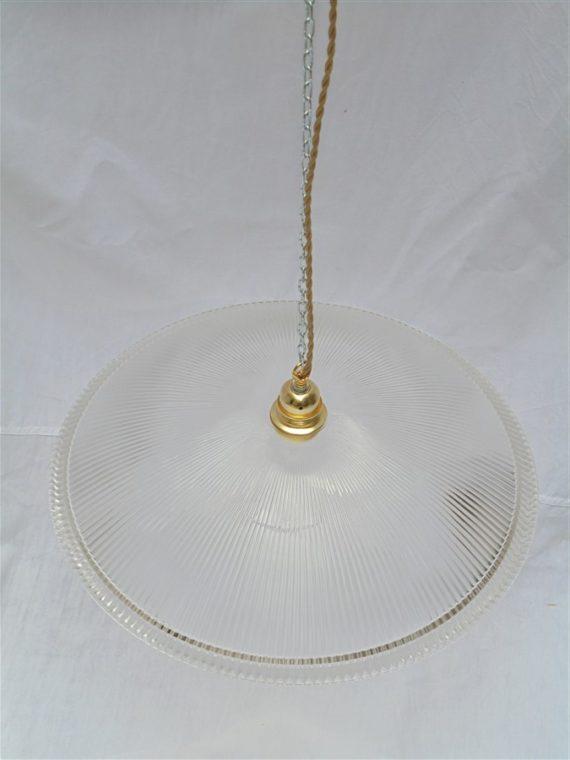 grande suspension de style holophane en verre strie