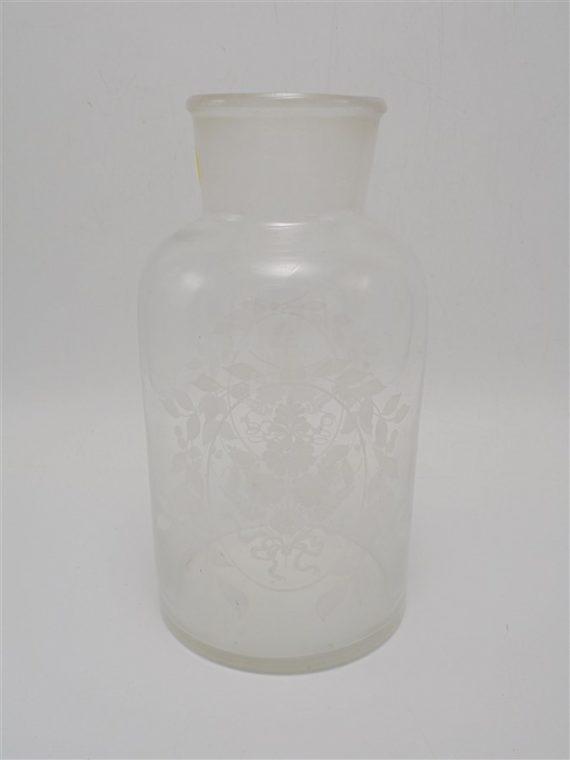 ancien flacon en verre decor floral