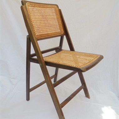 chaise pliante vintage cannage et bois