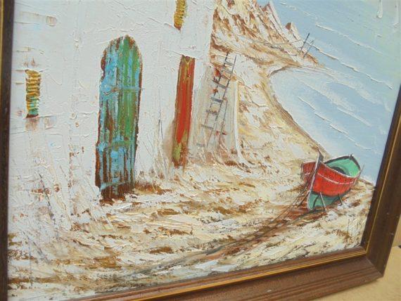 peinture au couteau decor maisons et barque bord de mer tableau signe puig