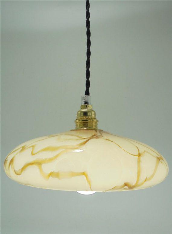 suspension ancien globe en verre effet marbre beige caramel