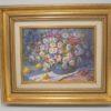 tableau peinture sur toile nature morte bouquet de fleurs marguerites signé jackson
