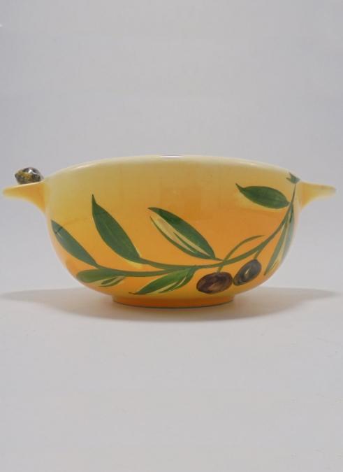 bol a olives ceramique decor provencal jaune branche olivier cigale sur oreille