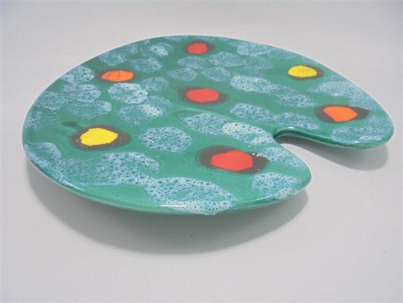 plat plateau en forme de palette de peinture en ceramique de poet laval drome