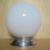 lampe globe opaline art deco socle chrome