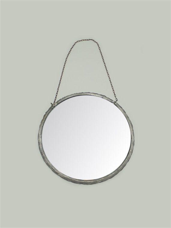 petit miroir rond avec chainette style barbier
