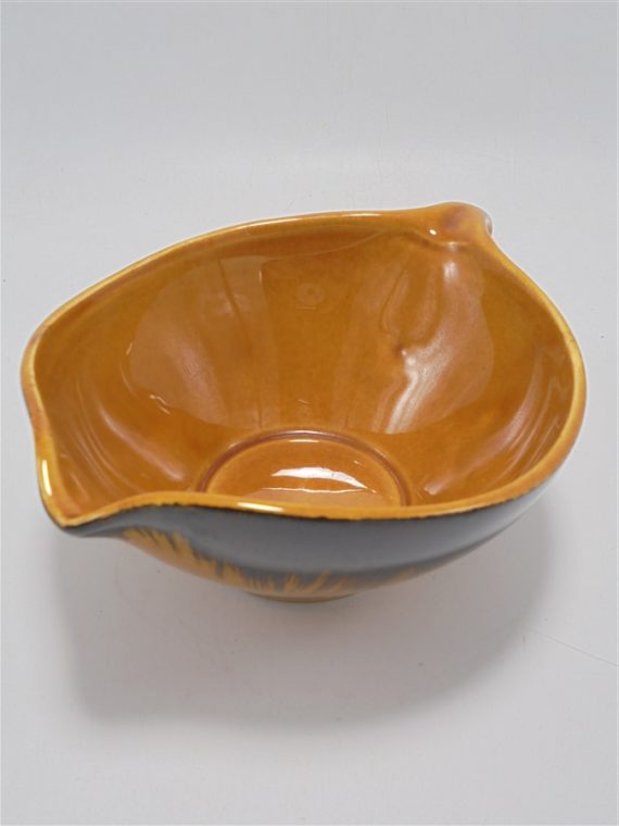 saladier et sauciere vintage signe accolay ceramique fauve