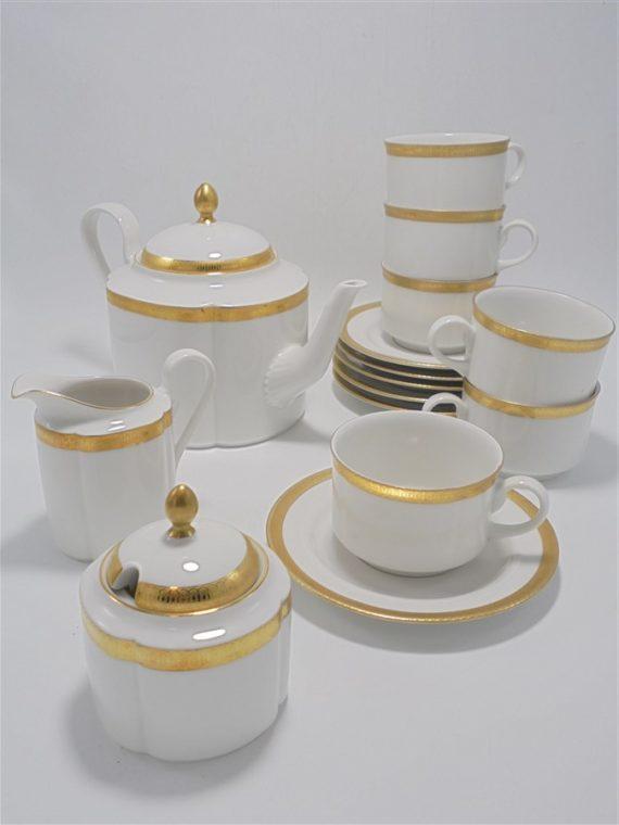 service a the ou a cafe en porcelaine scherzer bavaria germany frise doree a l or fin