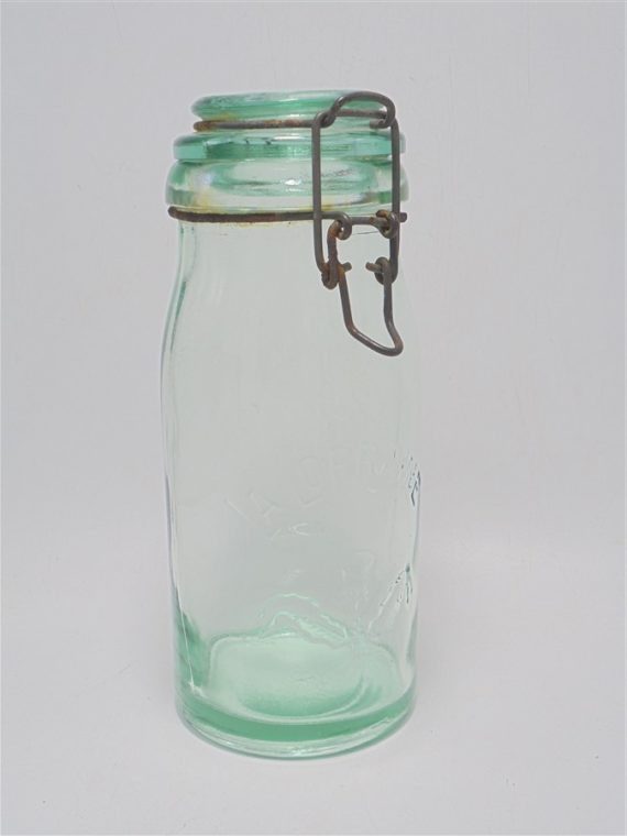 ancien bocal de conservation la lorraine verre vert d eau decor chardon