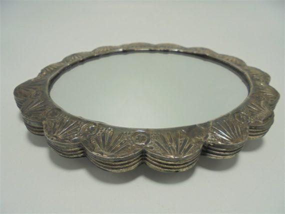 petit miroir turc ottoman miroir de sultan ovale a suspendre en argent repousse