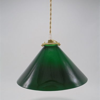 suspension en opaline verte de forme conique