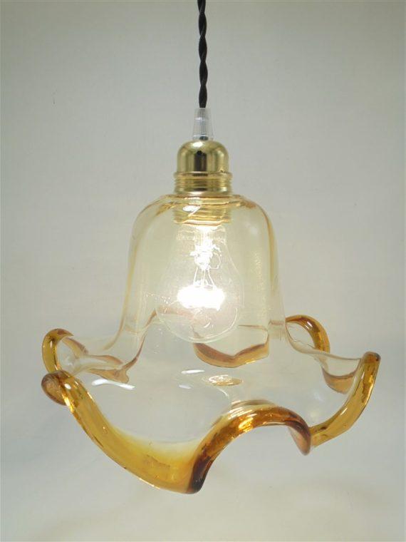 suspension vintage verre esprit murano transparent bulle bordure orange